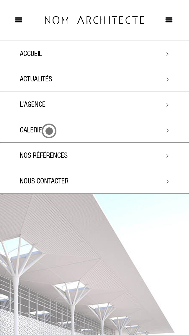 site archi-v iphone menu ouvert