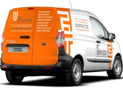 Charte graphique, logo et PLV habillage véhicule RT Services